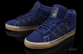 "reputable site e39f1 6c4a3 adidas Campus Vulc Mid ""Tim O Connor"". The upper shows off a navy blue  suede upper with white stitching and black leather on the classic three  stripe logo."