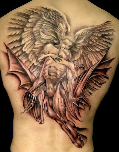 angel kissing tattoos