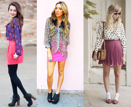 como usar saia cor de rosa com camisa estampada