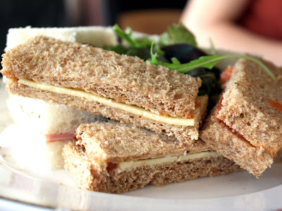 Sandwiches at afternoon tea at the Petersham hotel in Richmond in London England