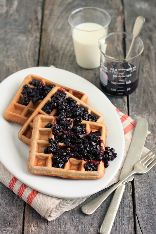 Cinnamon Teff Waffles with Blueberry Compote