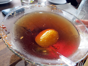 The Manhattan Avenue, a manhattan with templeton rye, vanilla, caramel, and bacon dust. You read right, Bacon Dust. Manhattan Beach Post restaurant, Manhattan Beach, Los Angeles