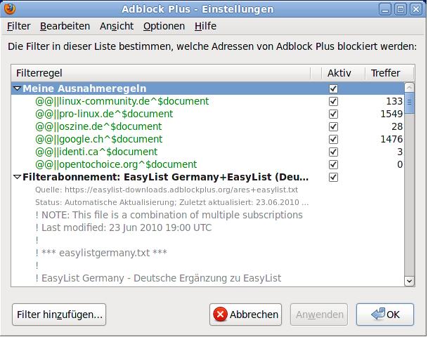 Adblock Plus - Einstellungen