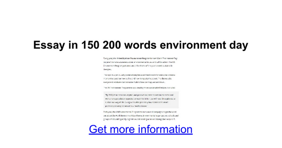 environment essay 200 words