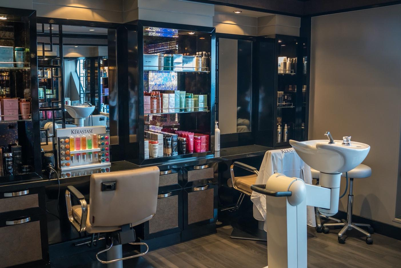 Salon space with retail products on the shelf