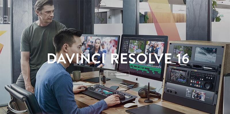 Da Vinci Resolve 16 software download page