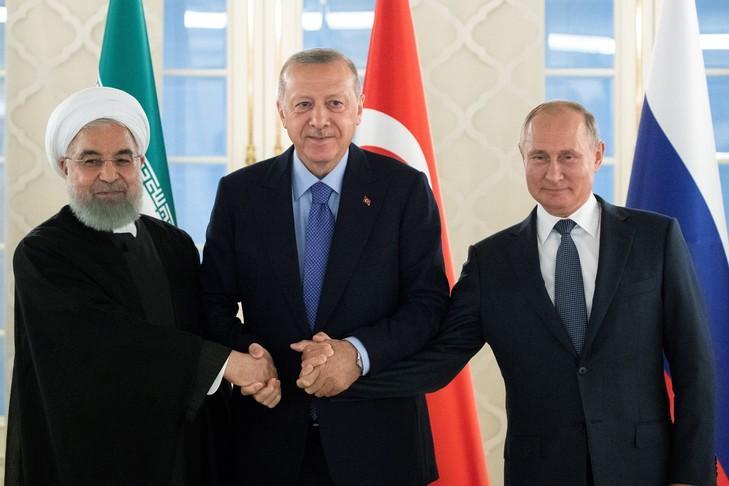 """Résultat de recherche d'images pour """"poutine conférence de presse de Poutine, Erdogan et Rohani"""""""