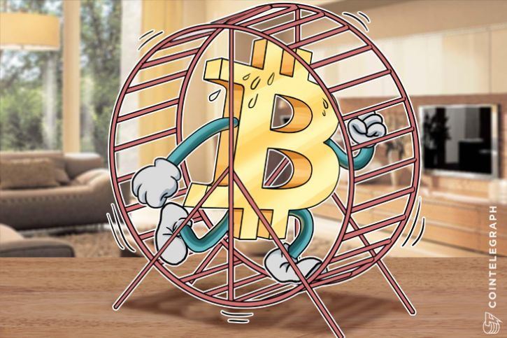 Bitcoin in a running wheel