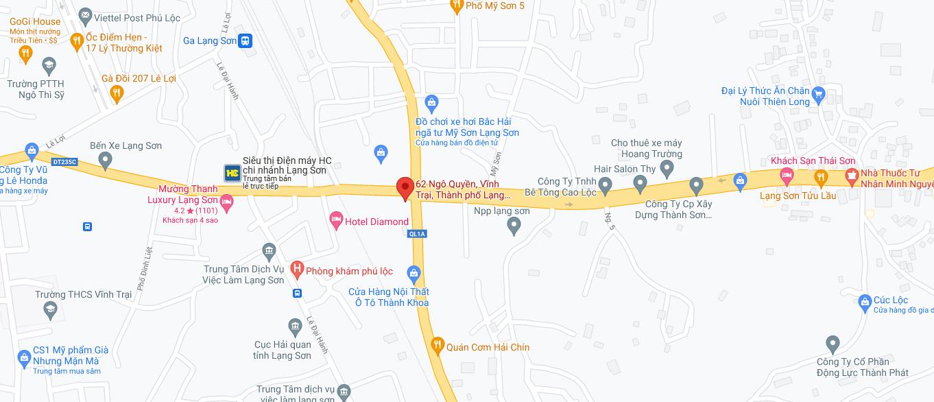 Địa điểm đón/trả khách tại Lạng Sơn