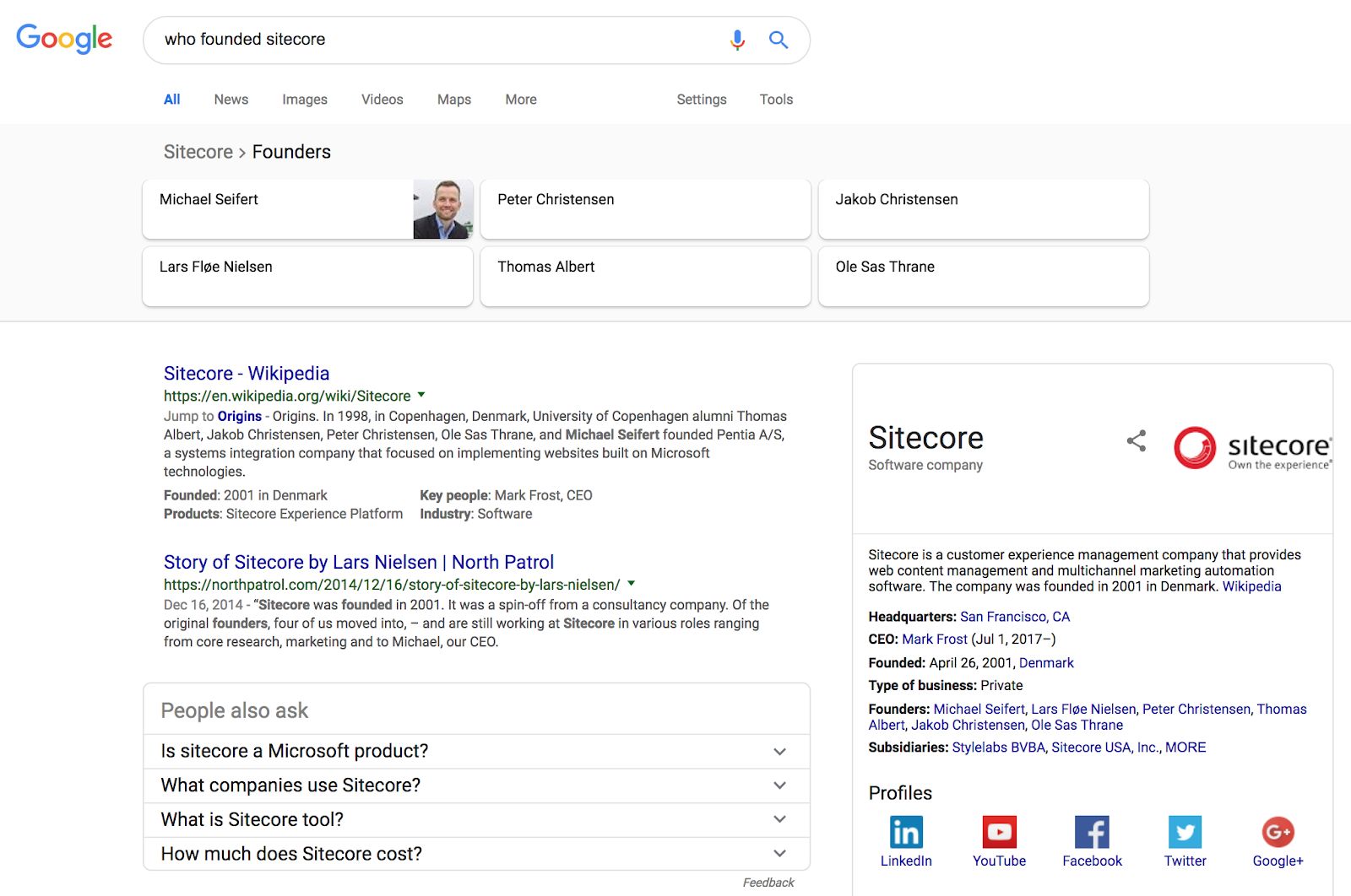Google search result for who founded sitecore showing Knowledge Panel