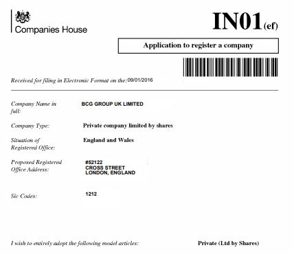 Application of registration UK