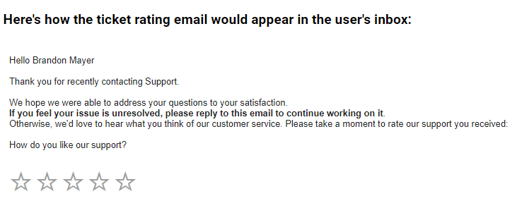 Emails for Ticket Rating