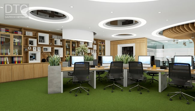 Phòng làm việc cho nhân viên được thiết kế nhiều công năng