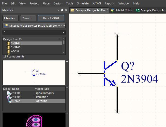 Screenshot Altium Designer 18 Spiegeln und Drehen von Bauteilen – Platzieren von Bauteilen