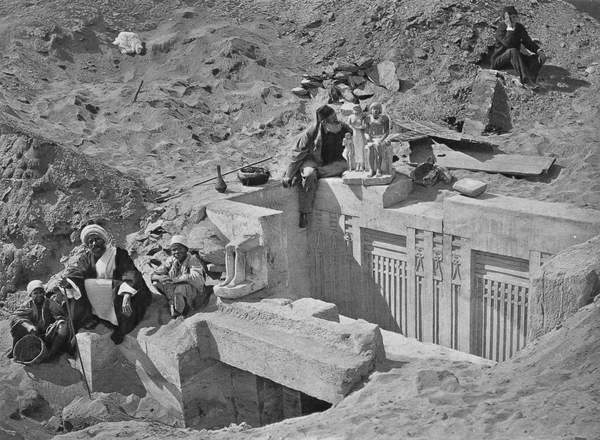 Image of Auguste Mariette (1821-81) seated on a mastaba during excavations at Saqqara, from 'Voyage dans la Haute Egypte', published in 1878 (b/w photo), French Photographer, (19th century) / French, © The Stapleton Collection / Bridgeman Images