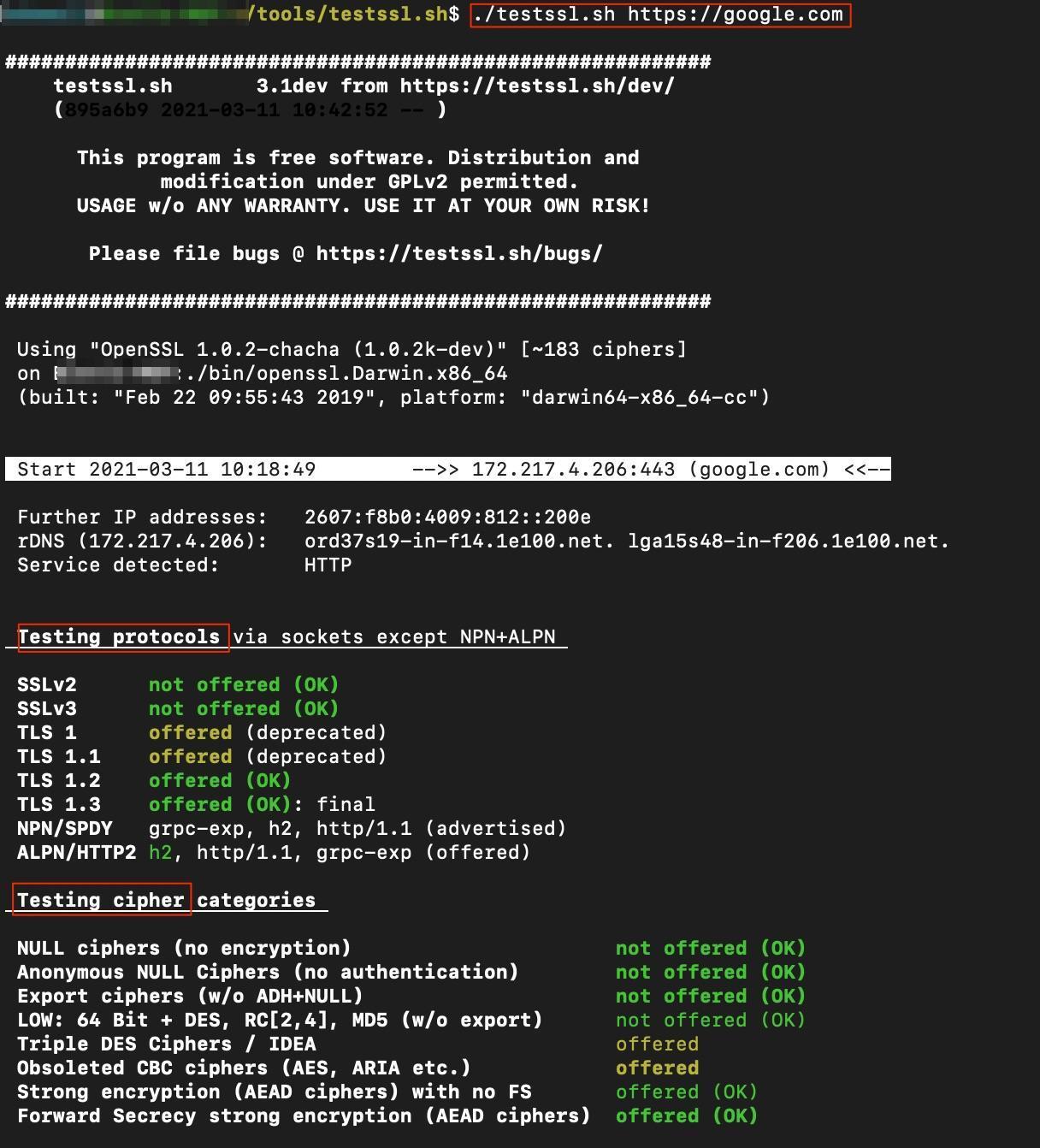 Screenshot of testssl.sh testing protocols & testing ciphers by white oak security blog.