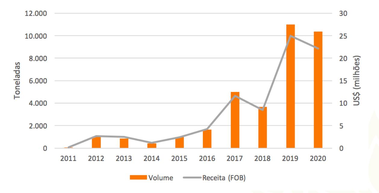 Apesar da queda em 2020, exportações continuam muito maiores que nos anos anteriores (Fonte: CNA/Reprodução)