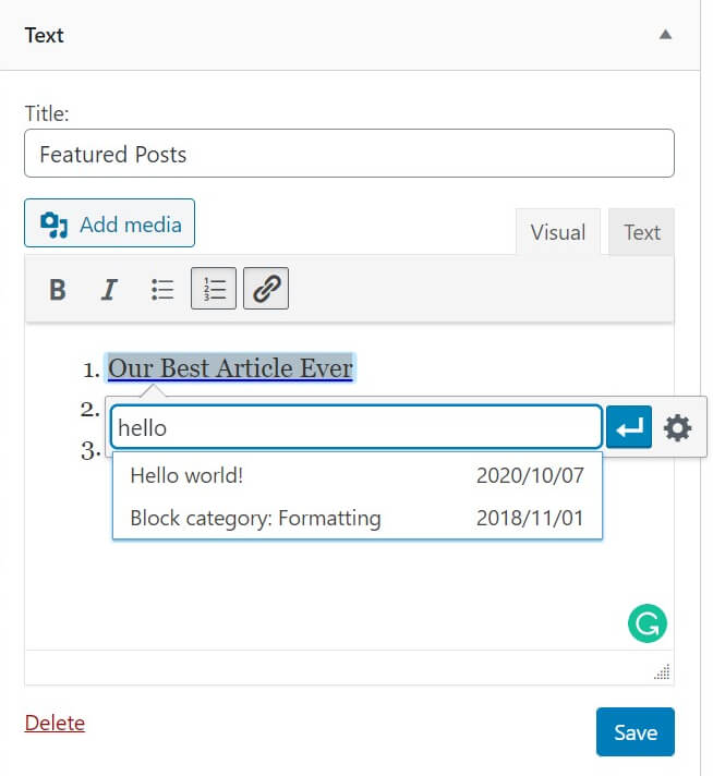 How to add links to your featured posts in WordPress