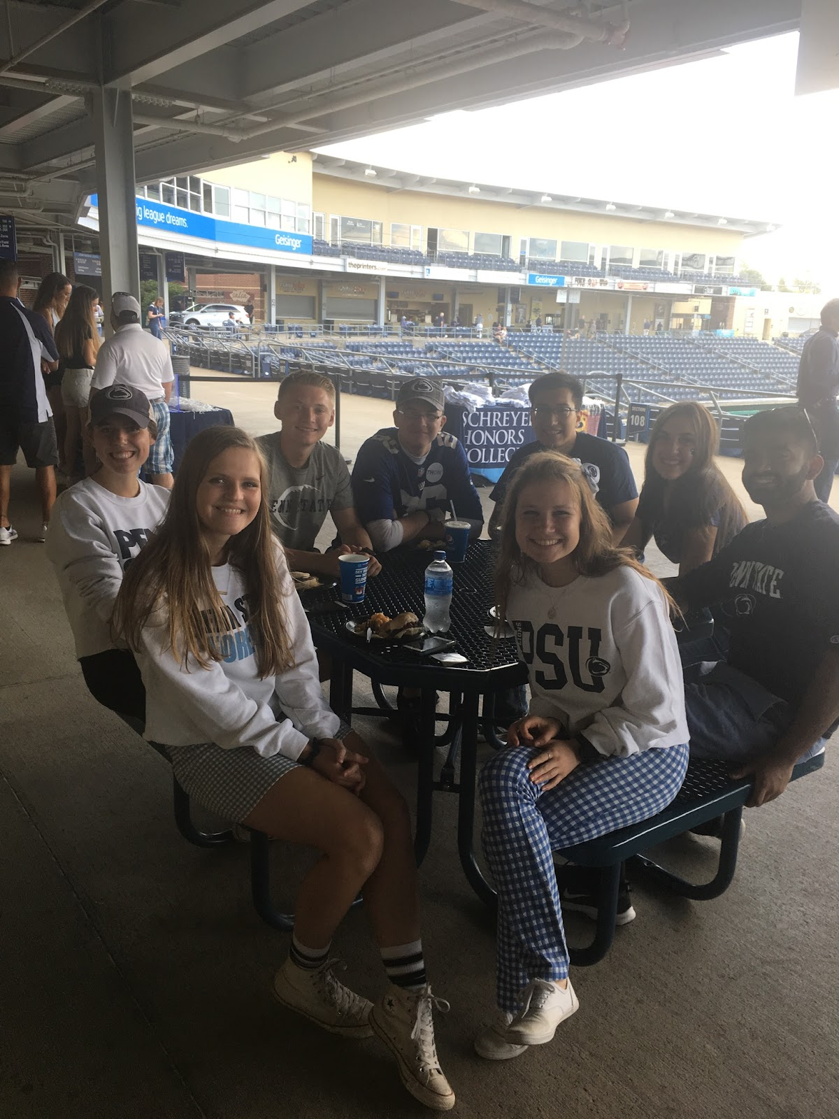 Schreyer Student Council at a football tailgate with Tyler-- Fall 2019