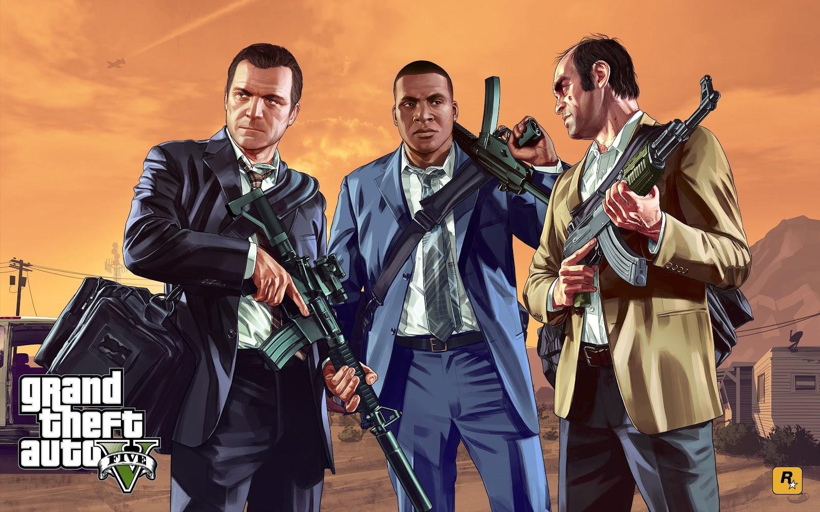Franklin, Trevor und Michael mit Waffen vor orangenem Hintergrund