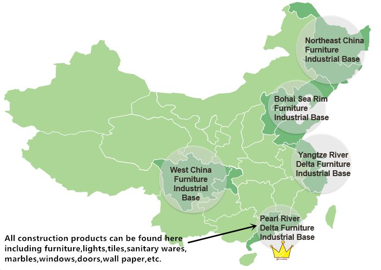 Карта распределения производства мебели в Китае
