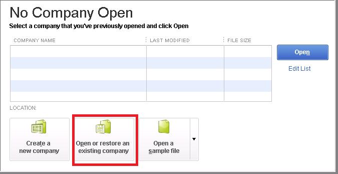 Quickbooks Error 6000 308 no company open window