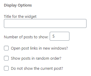 Pengaturan display options plugin recent post