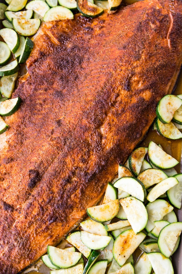 Baked Coho Salmon fillet with cajun seasoning