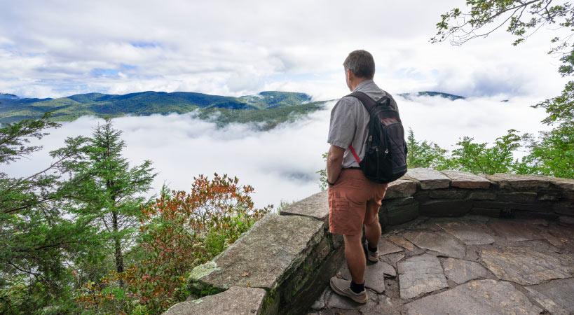 A man hiking in North Carolina