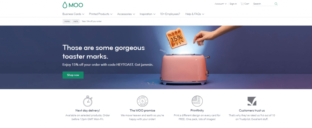 email marketing campaign-landing page Moo