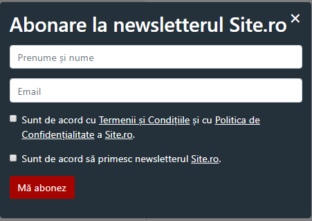 pop-up de abonare la newsletter