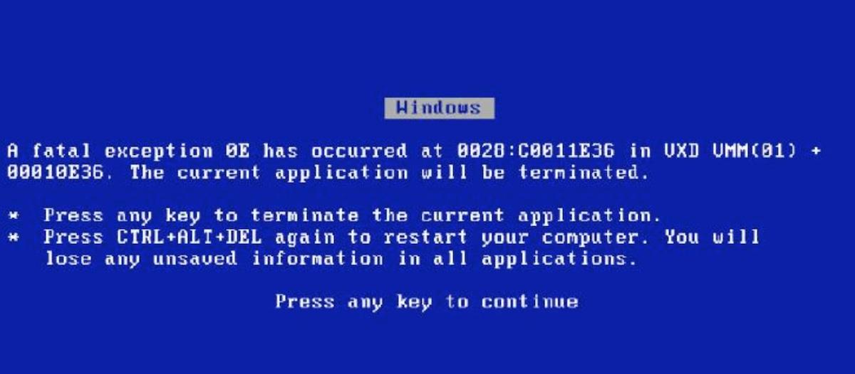 Exemplo de erro de mensagem no Windows.