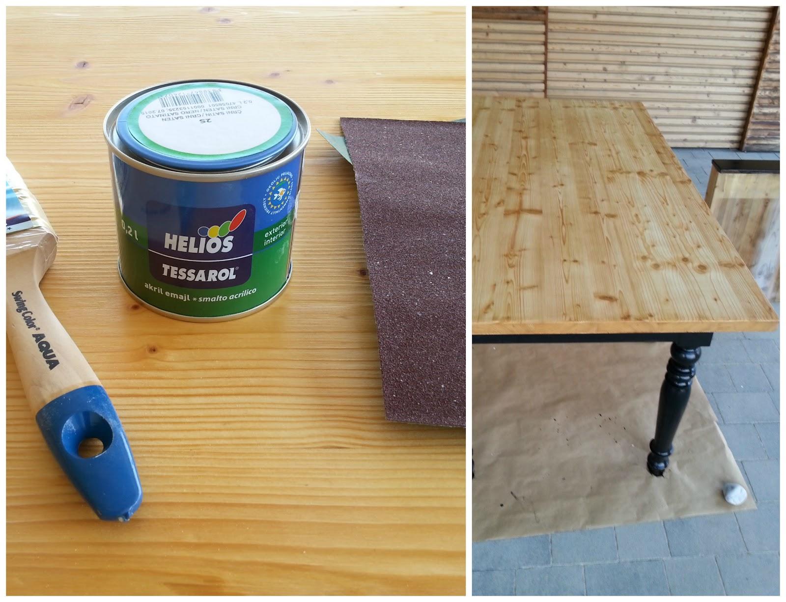 Spodnji del mize sem dobro prebrusila in pobarvala z črno mat barvo na vodni osnovi.