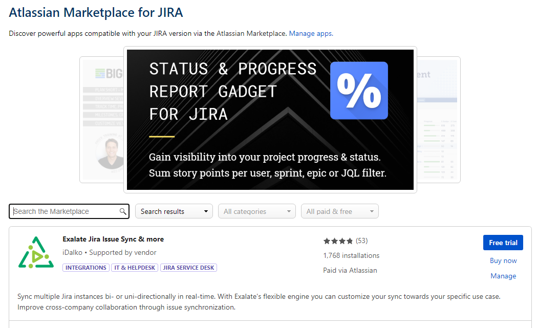 get exalate for a jira servicenow integration in the marketplace