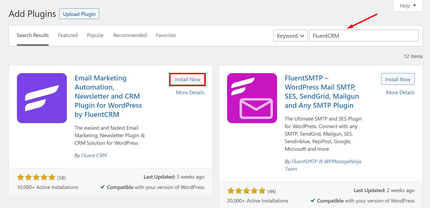 installing fluentcrm, installing an email subscription plugin on wordpress