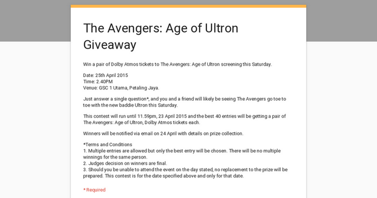 Win! A pair of Avengers: Age of Ultron Dolby Atmos Tickets