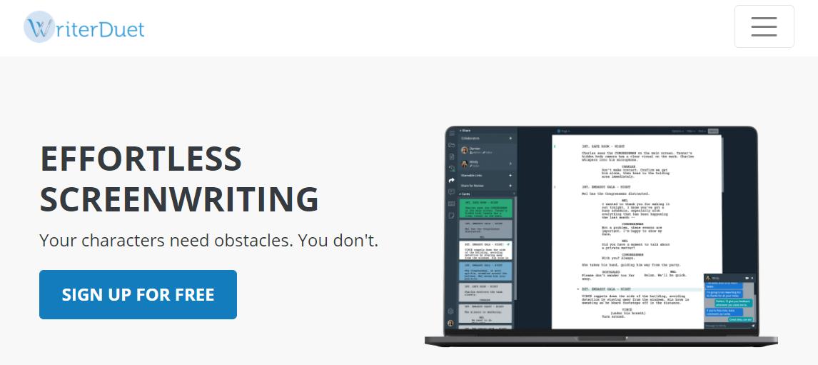 writerduet screenwriting software
