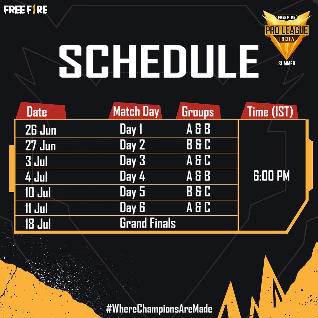 Free Fire Pro League 2021 Schedule