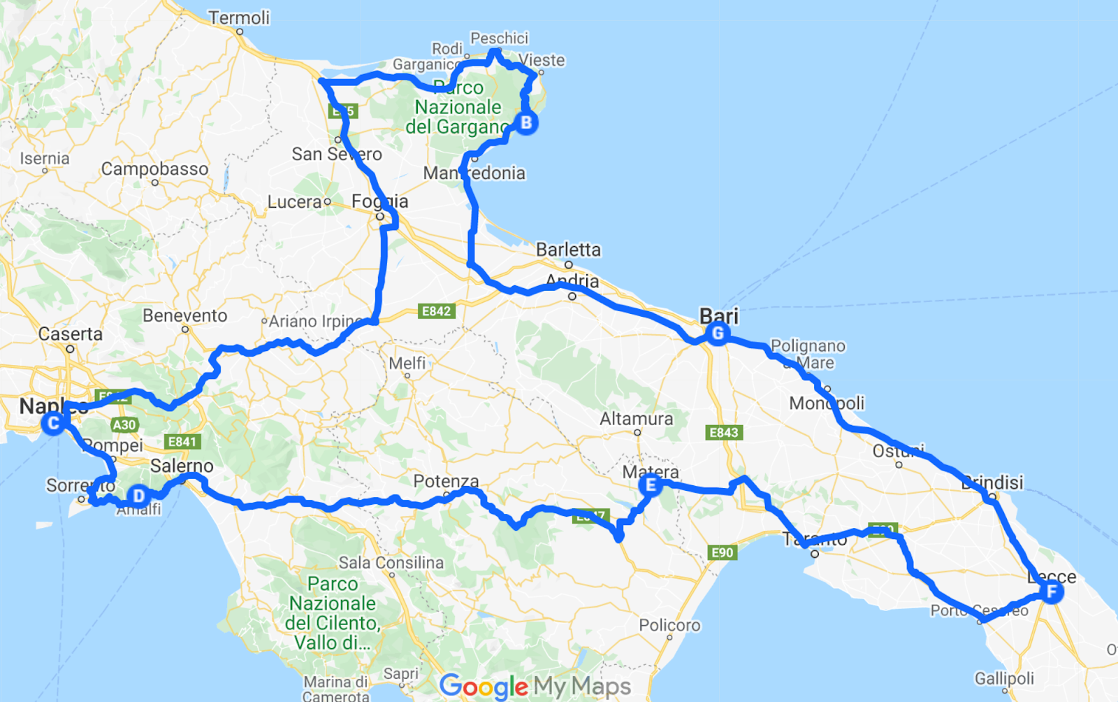south of italy road trip itinerary plan coastal italian vacation google maps schedule