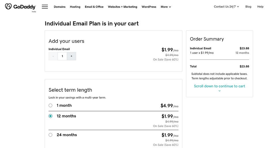 Trang mua gói email cá nhân của GoDaddy.