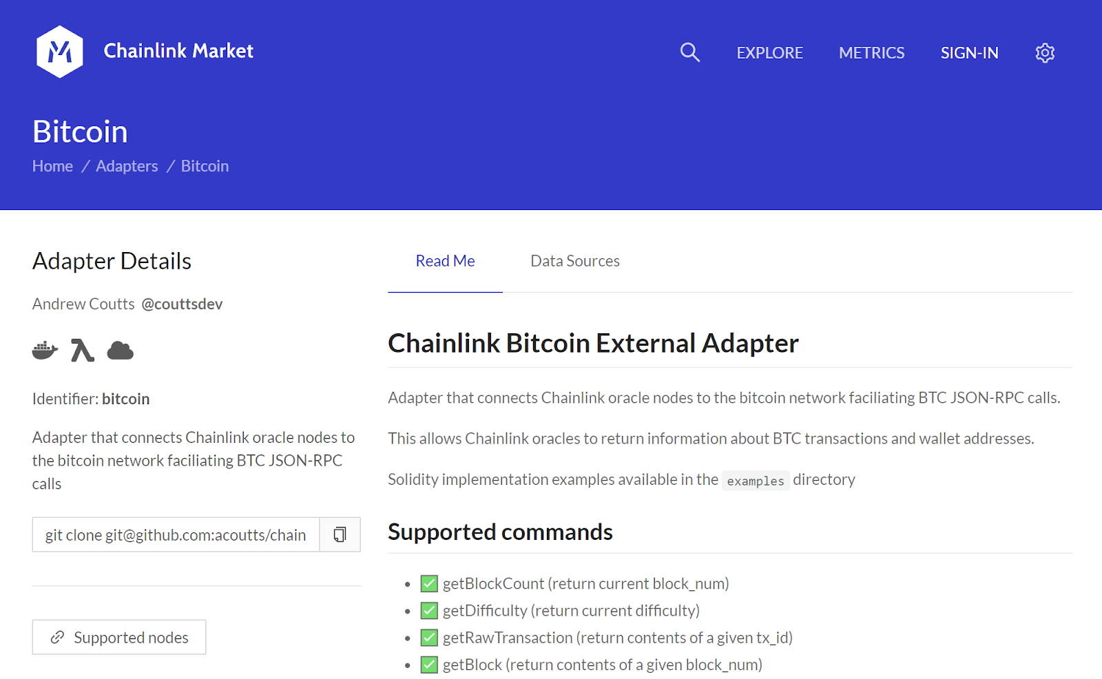 The Chainlink Bitcoin External Adapter on the Chainlink Marketplace