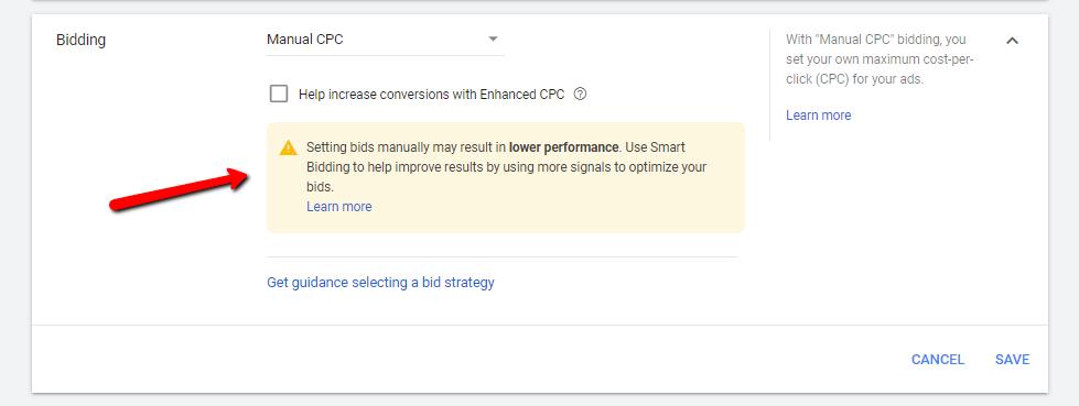 Manual CPC bidding screenshot