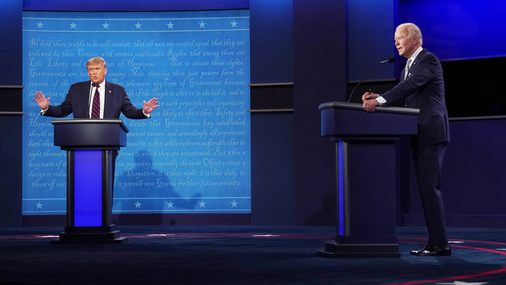 Com percepções diferentes sobre a pandemia, Biden e Trump discutiram em debates presidenciais sobre o sistema de saúde norte-americano. (Fonte: Shutterstock)