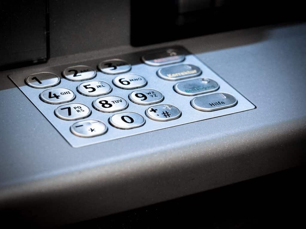 Teclado Numérico De Um Caixa Eletrônico.