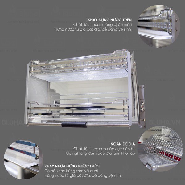2 khay đựng nước và ngăn để đĩa tiện dụng - Giá bát nâng hạ Garis BH06.800 - Phụ kiện bếp chính hãng