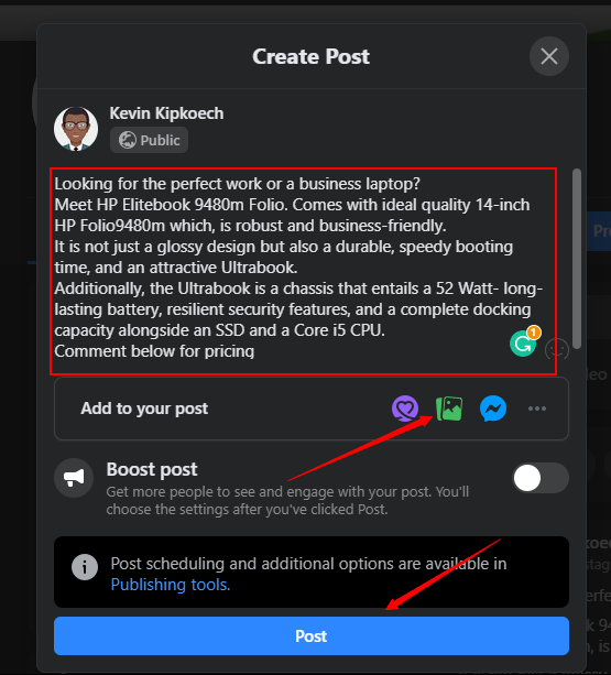creating a post on Facebook in Kenya