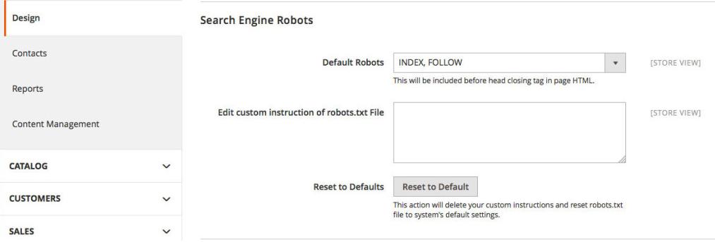 Magento 2 SEO features: Robots.txt