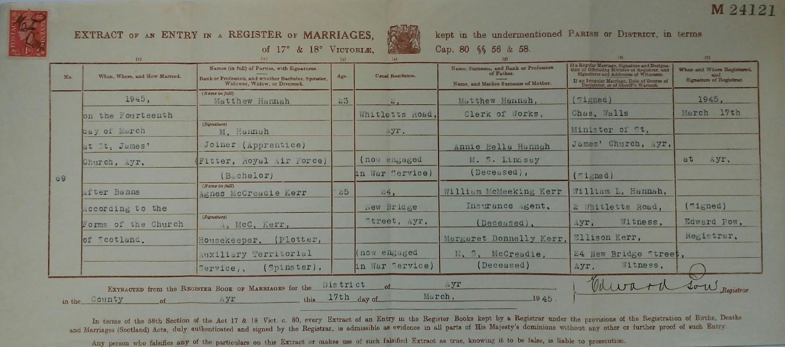 C:\Users\Main user\Pictures\Matt Hannah's Family\Hannah Certificates\Matthew Hannah and Agnes Kerr Marriage Certificate.jpg