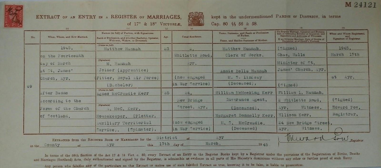 C:\Users\Main user\Pictures\Matt Hannah's Family\Hannah Certificates\Matthew Hannah and Agnes Kerr Marriage Certificate.jpg