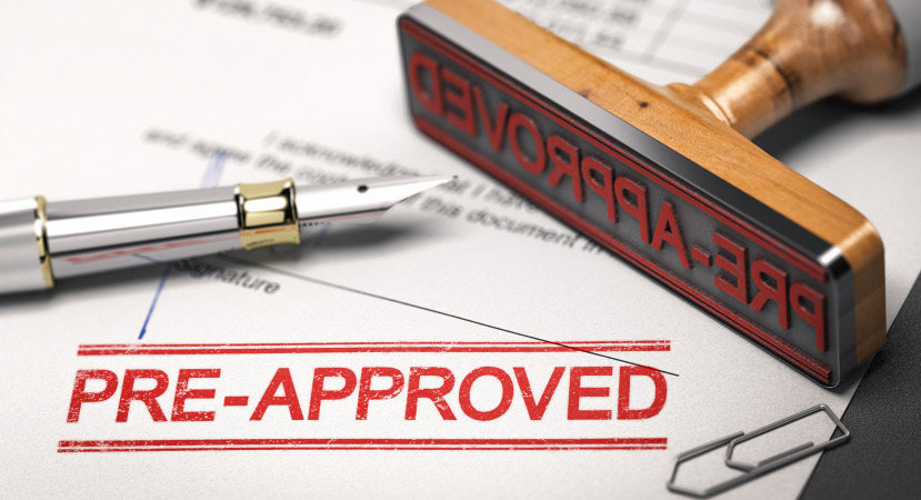 A pre-approved stamp on a home loan